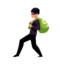 Thief robber burglar trying to escape with a vector