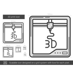 Three D print line icon vector