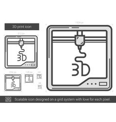 Three d print line icon vector