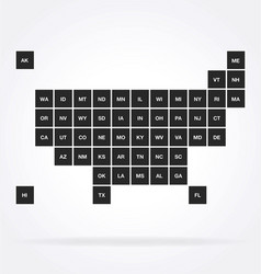 usa map political stylized infograph square states vector image