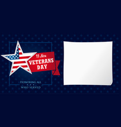 Veterans day usa honoring all who served card vector