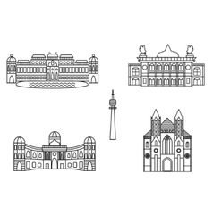 vienna black silhouette city skyline buildings vector image