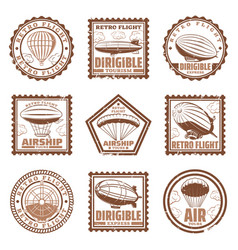 vintage airship stamps set vector image