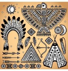 Vintage set native american symbols vector