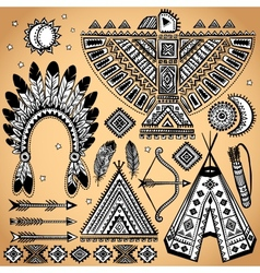 Vintage set of native American symbols vector image