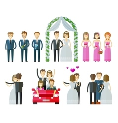 Wedding icons set marriage nuptial wed or vector