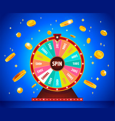 wheel of fortune with gold 3d coins lottery and vector image