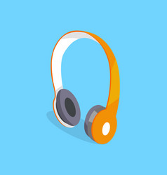 wireless headphones three dimensional icon vector image