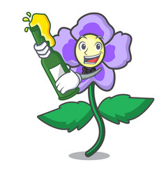 With beer pansy flower mascot cartoon vector