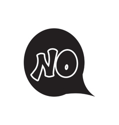 Word no in bubble speech icon simple style vector