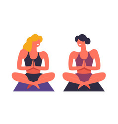 yoga exercises and practice of female friends vector image