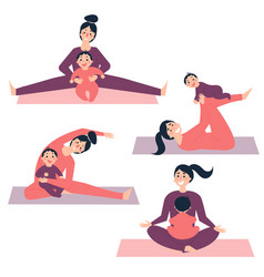 Yoga exercises with baby woman is stretching vector