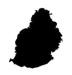 black silhouette country borders map of mauritius vector image