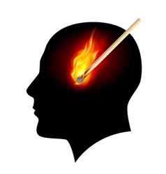 creative ideas burning match on white vector image