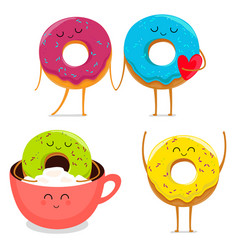funny donut characters set in leisure vector image vector image