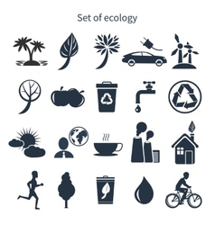 Green energy and ecology icon set vector image