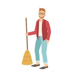 man with broom sweeping the floor cartoon adult vector image vector image