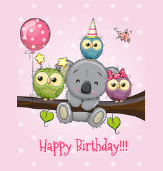 three owls and koala on a branch with balloon and vector image vector image