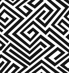black labyrinth seamless pattern vector image