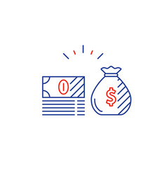 long term investment plan money bag and cash bills vector image