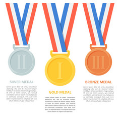 medals set on white background vector image vector image
