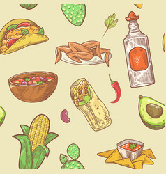 mexican food hand drawn seamless pattern vector image