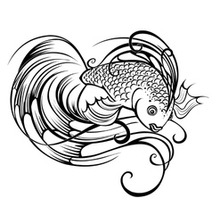 stylized beautiful fish vector image vector image