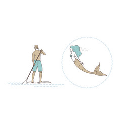 Sup stand up paddling the old man vector