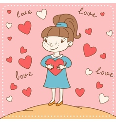 Vintage Valentines day card of girl with heart vector image vector image
