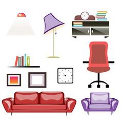 Big apartment furniture set vector