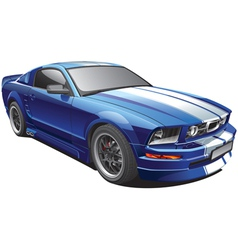 blue muscle car vector image vector image