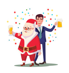drunk man and santa claus corporate vector image vector image