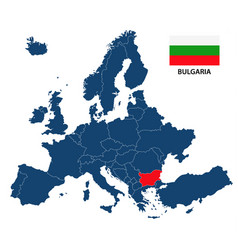 map of europe with highlighted bulgaria vector image