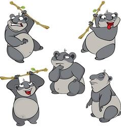 set of cute cartoon pandas vector image vector image