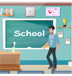 young teacher man at class lesson vector image