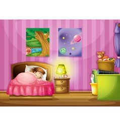 a girl and a bedroom vector image