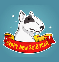 bull terrier for new year vector image