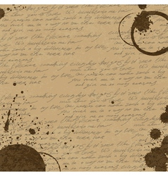 coffee rings on manuscript background vector image vector image
