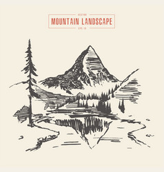 mountain landscape lake spruces drawn vector image vector image