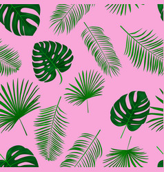 seamless hand drawn tropical pattern exotic palm vector image
