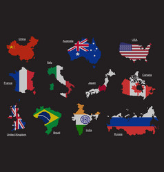 set of countries map flag vector image