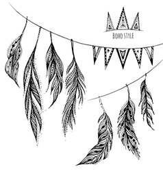 set of hand drawn web design elements in Boho vector image vector image