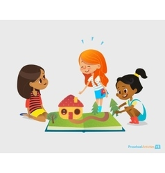 Three young smiling girls sit on floor talk and vector image vector image