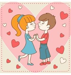 Vintage Valentines day card of boy kisses girl vector image