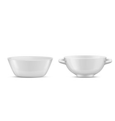 3d realistic porcelain tableware glass vector