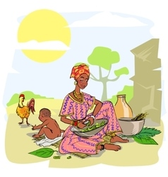 African woman with baby vector image