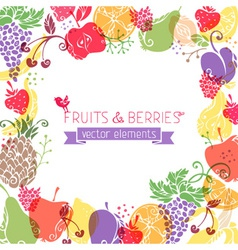 background of fruits and berries on white vector image