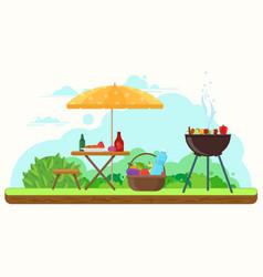 bbq picnic in garden vector image