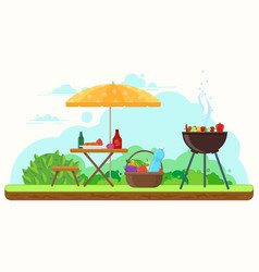 Bbq picnic in the garden vector