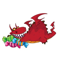 big dragon with sweets vector image